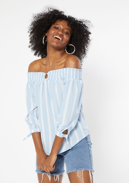 blue striped print off the shoulder o ring top - Main Image