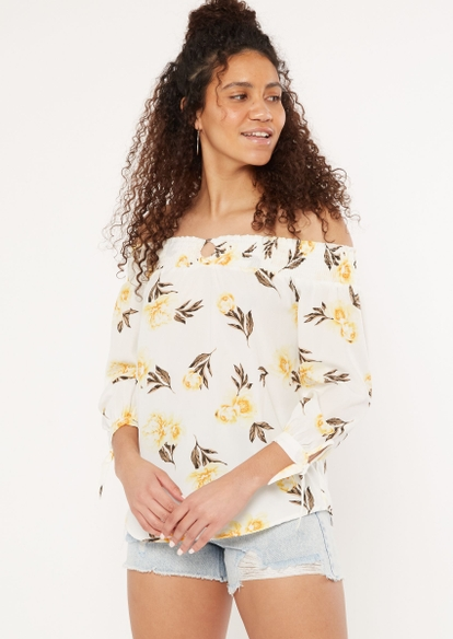white floral off the shoulder o ring top - Main Image