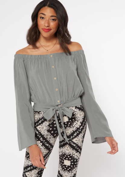 olive green off the shoulder tie front top - Main Image