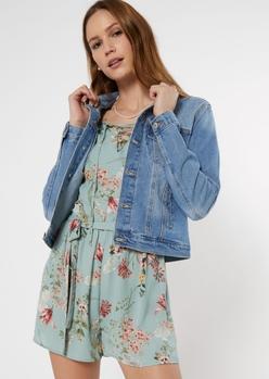 medium wash jean jacket - Main Image