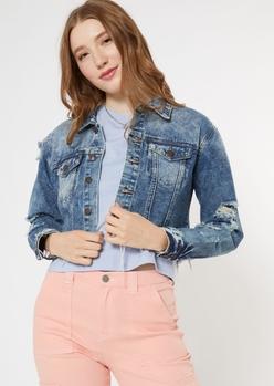 medium acid wash frayed cropped jean jacket - Main Image