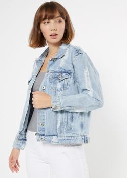 light wash distressed jean jacket - Main Image