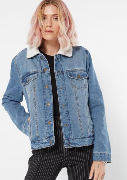 medium wash sherpa lined trucker jean jacket - Main Image