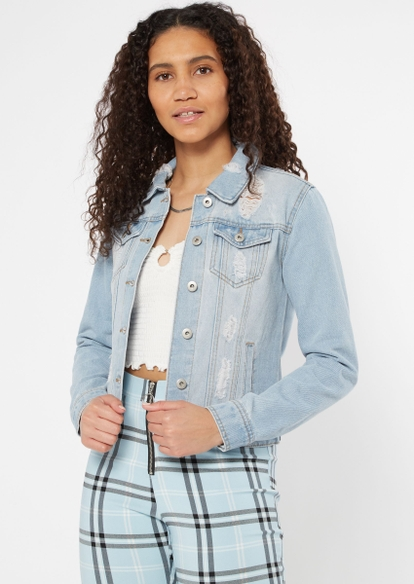 light wash ripped jean jacket - Main Image