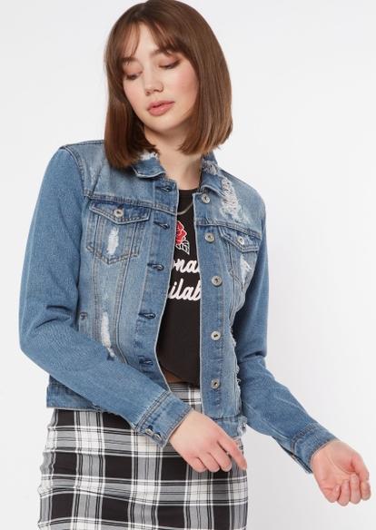 medium wash ripped jean jacket - Main Image