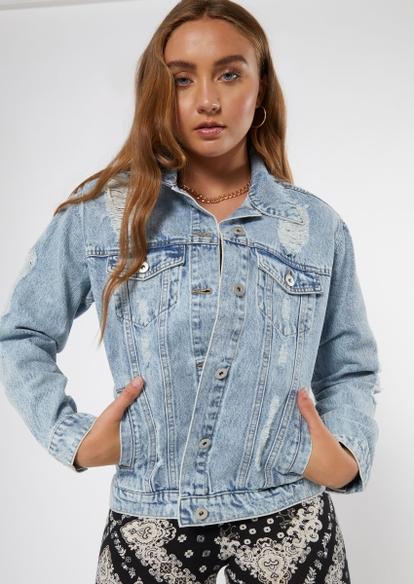light stone wash ripped boyfriend jean jacket - Main Image