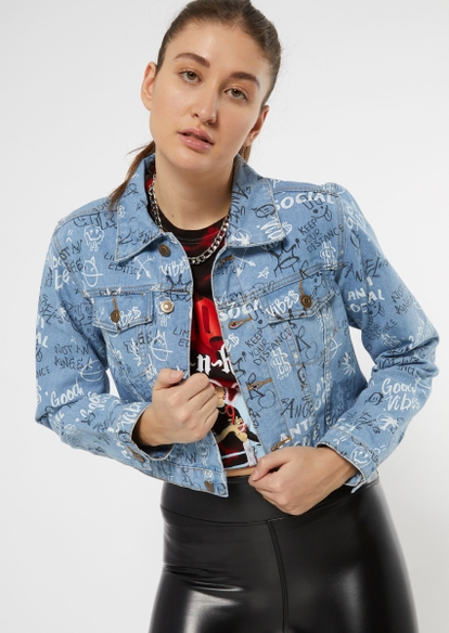 light wash graffiti print cropped jean jacket - Main Image