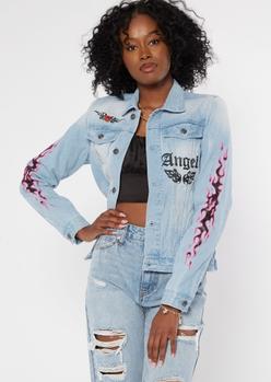 light wash flame print jean jacket - Main Image