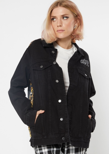 black acdc leopard print jean jacket - Main Image