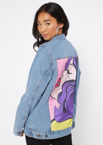 light wash pop art jean jacket - Main Image