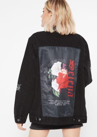 black patchwork selena jean jacket - Main Image