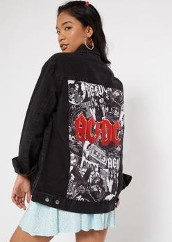 black oversized acdc jean jacket - Main Image