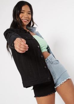 dark two tone oversized jean jacket - Main Image