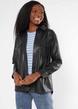 black faux leather shacket - Main Image