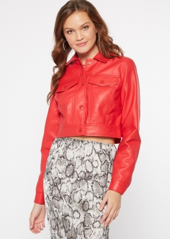 red faux leather button down cropped jacket - Main Image