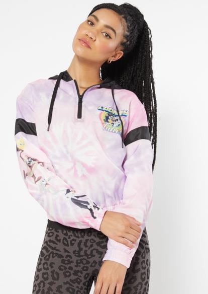 pink tie dye color block looney tunes hoodie - Main Image