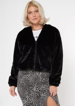 black reversible faux fur looney tunes jacket - Main Image