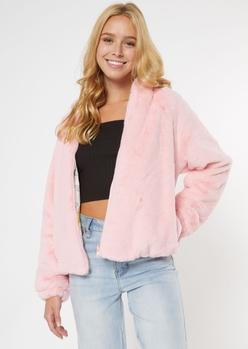 pink reversible faux fur looney tunes jacket - Main Image