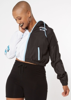 antisocial embroidered two tone cropped windbreaker - Main Image
