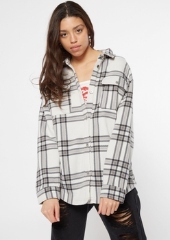 silver plaid flannel shacket - Main Image