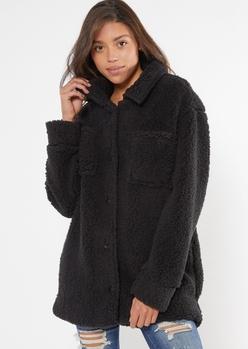 black cozy sherpa oversized shacket - Main Image