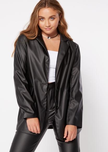 black faux leather oversized blazer - Main Image