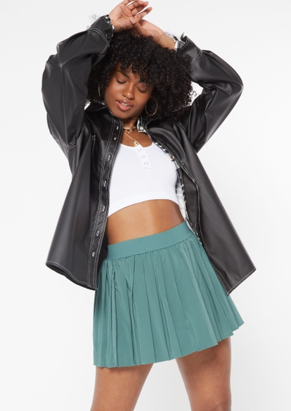 black faux leather contrast stitch shacket - Main Image