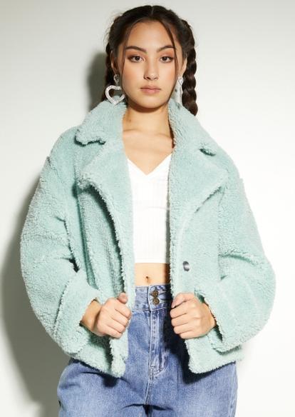 light green sherpa teddy jacket - Main Image