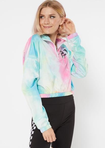 rainbow tie dye print spoiled cropped windbreaker - Main Image