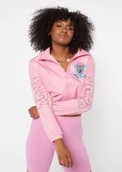 pink collegiate babe graphic full zip windbreaker - Main Image