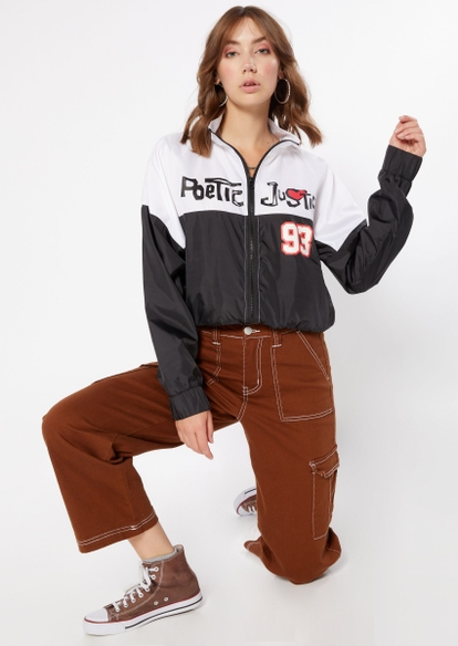 contrast split poetic justice zip up crop jacket - Main Image