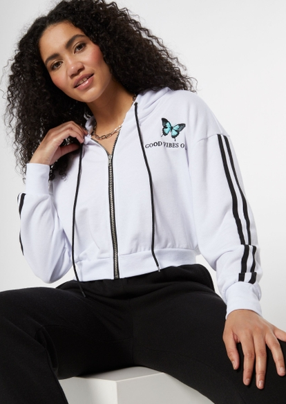 white butterfly embroidered zip up hoodie - Main Image