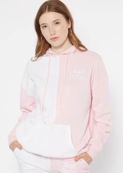 pink two tone angel energy embroidered hoodie - Main Image