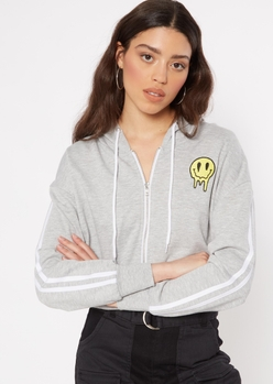 gray drippy smiley embroidered zip up hoodie - Main Image