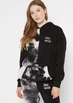 black two tone anti social embroidered hoodie - Main Image