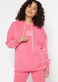 neon pink stay away flame embroidered hoodie - Main Image