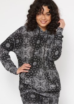 black bandana print oversize boyfriend hoodie - Main Image