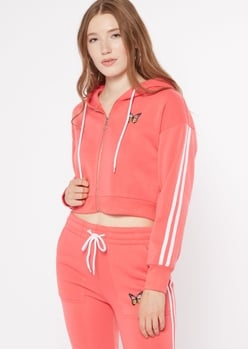 coral varsity stripe butterfly embroidered zip up hoodie - Main Image