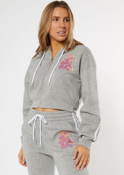 gray double varsity stripe dragon embroidered zip up crop hoodie - Main Image