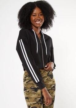 black varsity striped zip up crop hoodie - Main Image