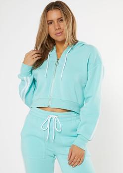 aqua cropped double varsity stripe zip up hoodie - Main Image