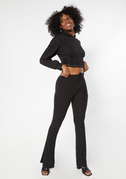 black cropped corset hoodie - Main Image