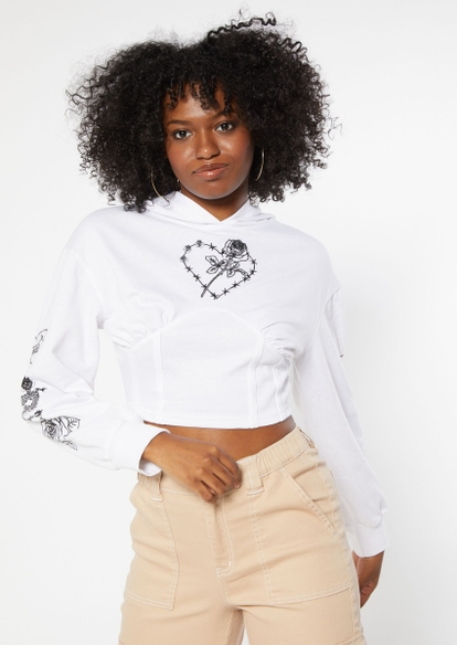 white barbed wire heart rose embroidered cropped corset hoodie - Main Image