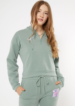 green iconic butterfly embroidered quarter zip hoodie - Main Image