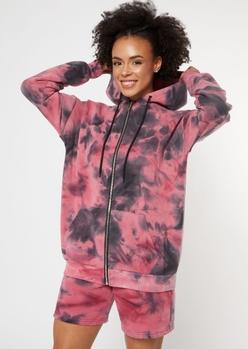 pink tie dye zip up boyfriend hoodie - Main Image