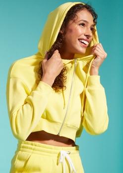 yellow cropped zip up hoodie - Main Image