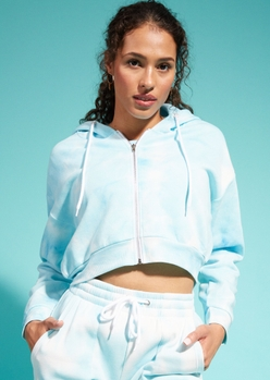 blue tie dye cropped zip up hoodie - Main Image