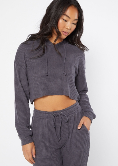charcoal gray brushed hacci waffle knit hoodie - Main Image
