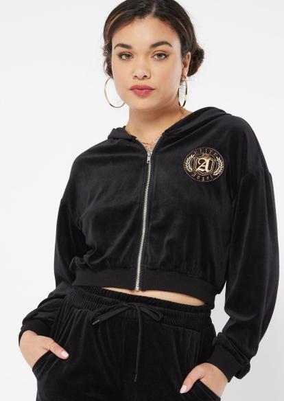 black angel crest embroidered velour zip up crop hoodie - Main Image