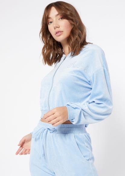 blue velour angel rhinestone zip hoodie - Main Image